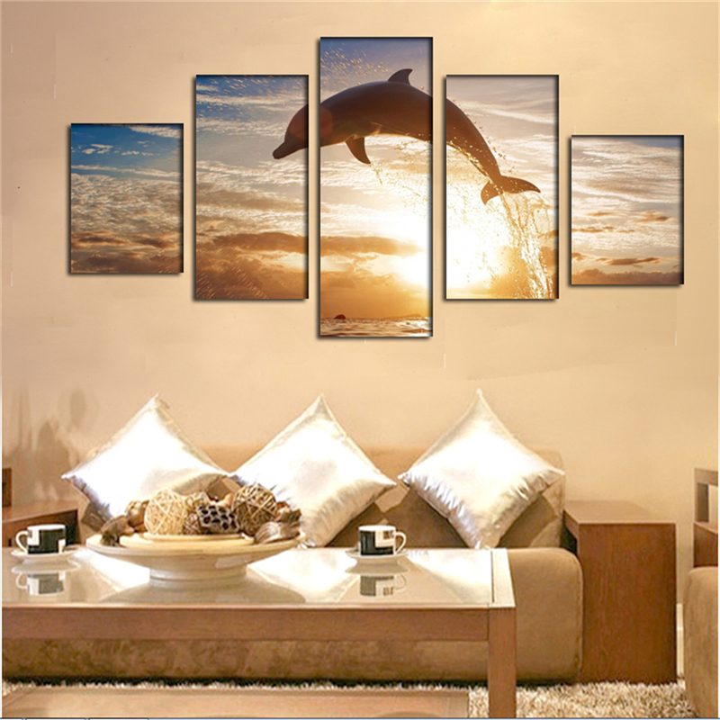 Hot Sale 5pcs Wall Decor Landscape Paintings on Canvas Stretched ...