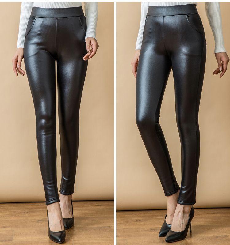 WAEOLSA Women Black PU Leather Leggings Thicken Fleece Legging Woman Slim Fit Warm Pant Winter Autumn Elastic Waist Leggins Mujer (7)