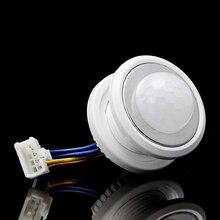 40mm detektor LED PIR czujnik ruchu na podczerwień przełącznik z opóźnieniem czasowym regulowany hyq