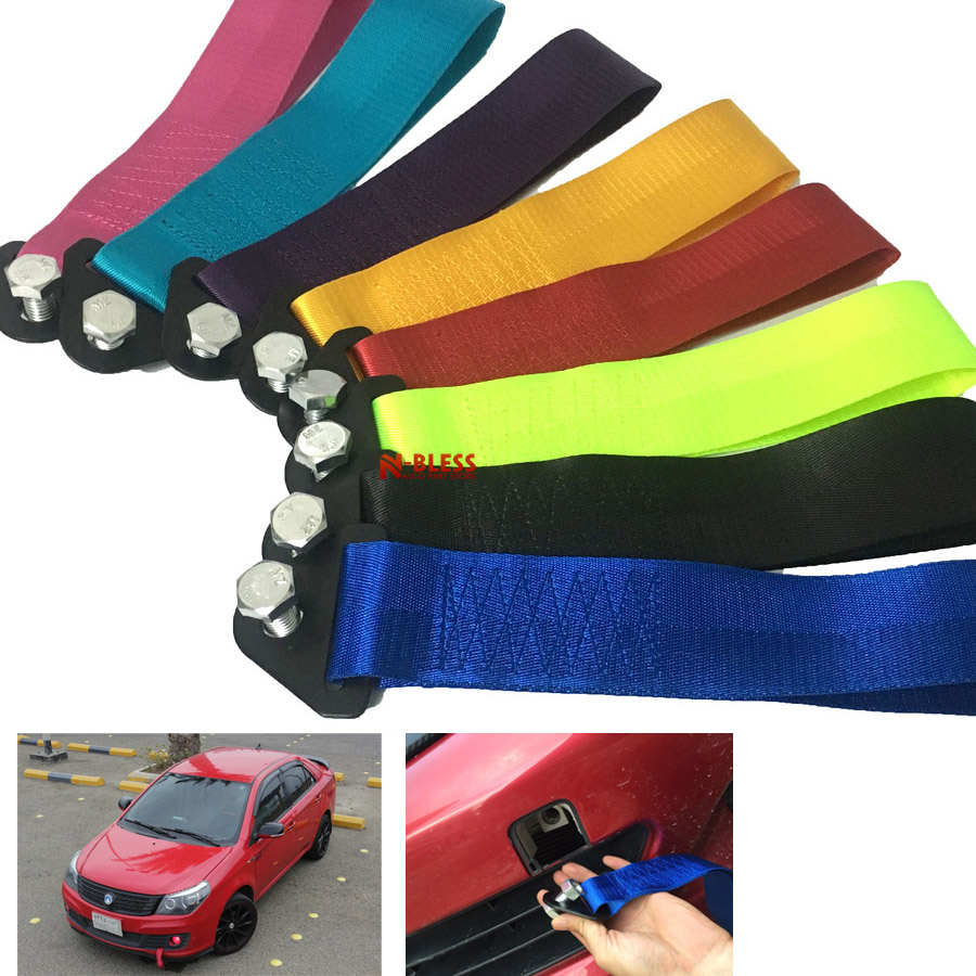 Green Universal High Strength Racing Tow Strap Recovery Bumper Towing Hook Drift