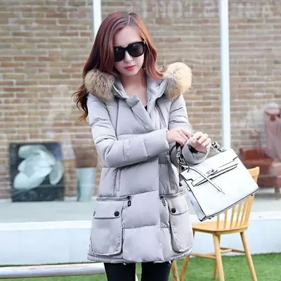 New Winter Coat Women Plus Size Jackets Female Fashion Fur Collar Solid Color   Casual Padded Jacket Warm Long Parka C821