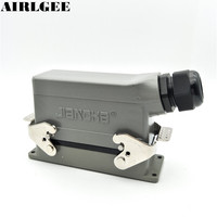 24 Pin Industrial Rectangle Heavy Duty Connector PG21 Side Outlet Hood Hot Runner Aviation Connector 16A
