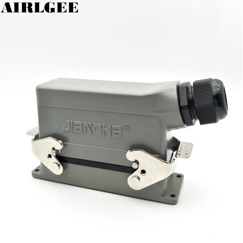 24 Pin Industrial Rectangle Heavy Duty Connector PG21 Side Outlet Hood Hot Runner Aviation Connector 16A 500V free shipping heavy duty connectors hdc he 024 1 f m 24pin industrial rectangular aviation connector plug 16a 500v