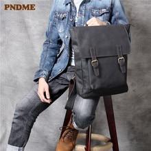 PNDME simple top layer cowhide backpack casual handmade genuine leather men women anti theft bagpack daily laptop bookbags
