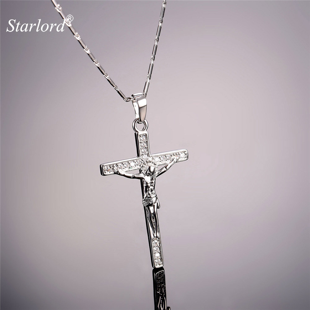Buy white gold crucifix pendant and get free shipping on aliexpress aloadofball Image collections