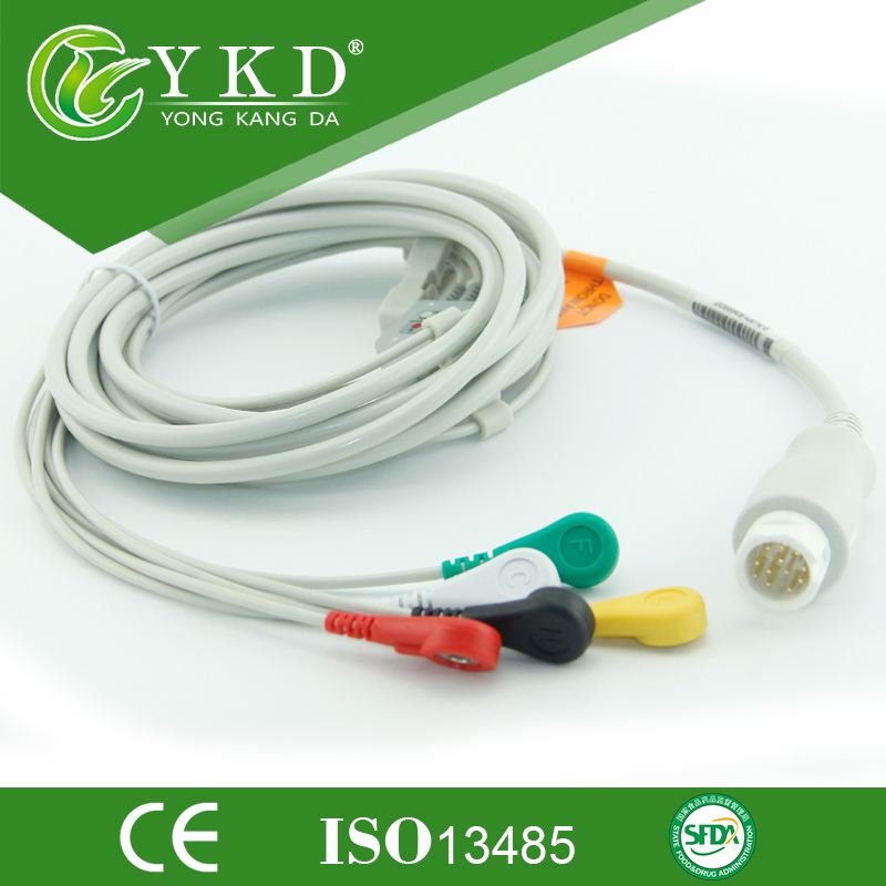 Free shipping one-piece series patient cable with leads IEC,5LD,SNAP, 12pinFree shipping one-piece series patient cable with leads IEC,5LD,SNAP, 12pin