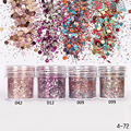 1 Box Pink Colorful Nail Glitter Dust Fine Mix 3D Nail Gold Silver Sequins Acrylic Glitter Powder Large Nail Art Decoration 10ML