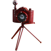 1PCS Vintage old wrought iron tripod camera watch home decoration camera craft gift clock LU628157