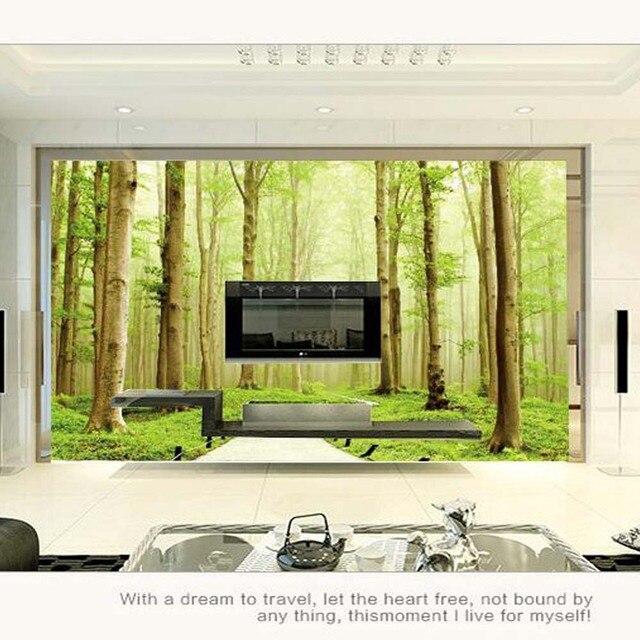 3d Groene bos Landschap Muurschildering Grote Foto Behang voor ...