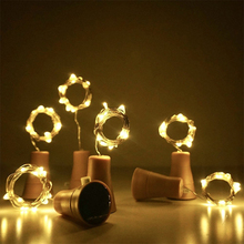 5 stks / partij 10 leds 15 leds 20 leds Zonne-energie Glas Wijnfles LED String Light Cork Vormige Kerstfeest Decoratie Licht Lamp
