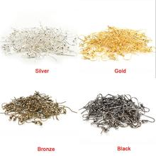 50PCS/pack Gold Silver Bronze Nickel Hooks Coil Ear Wire Earrings Findings For Jewelry Making Craft DIY(China)