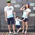 2017 Корейский родитель-ребенок мать сын наряды семья смотреть дети хлопка с коротким рукавом Футболки Пары clothing
