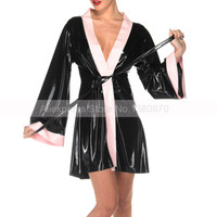 Sexy Female Latex Night Slip Rubber Sleep Gown Dress with Front Lacing S LD271