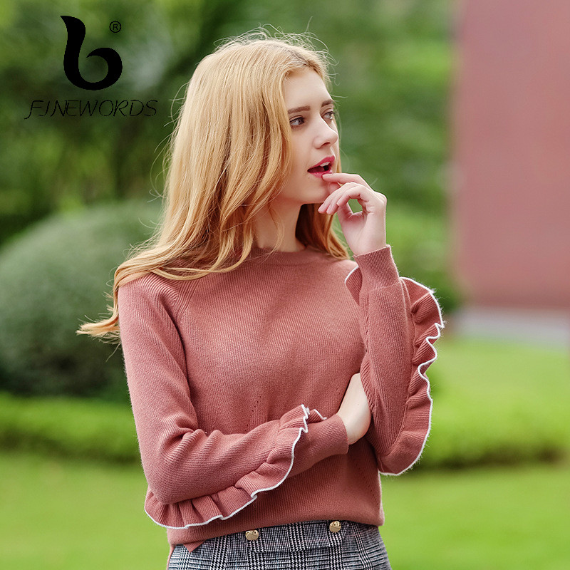 FINEWORDS Casual Knitted Pullover Solid Christmas Sweater Women Casual Ruffles Winter 2017 Knit Sweaters Long Sleeve pull femme