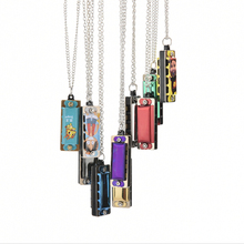 Colorful Kids Children Mini harmonica 4-hole Harmonica Mouth Organ Metal Chain Necklace Style Musical Tool Best Gift