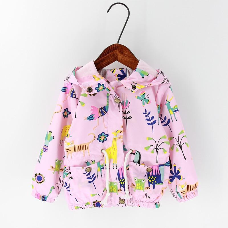Spring Girls Jackets Long Sleeve Girl Animal Graffiti Outerwear Children Clothing Windbreaker Hooded Jacket for 1-5 Years H0054