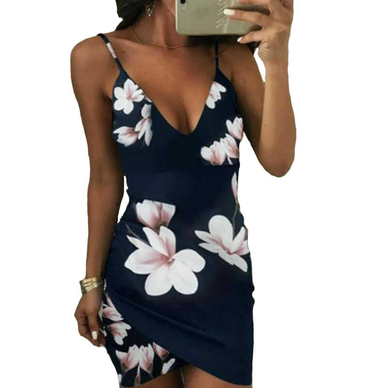 女性の夏のボヘミアン花柄ストラップショートミニドレスイブニングパーティービーチドレスサンドレス