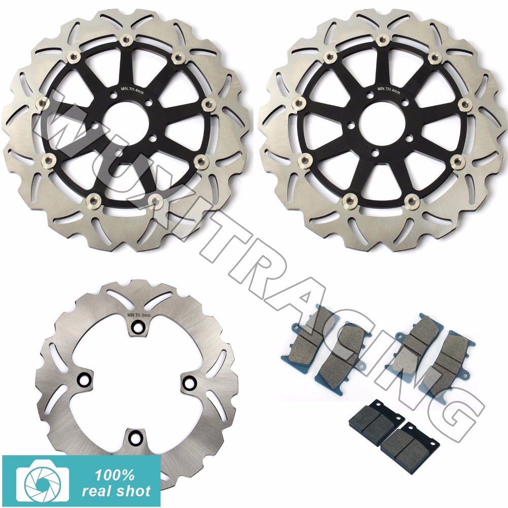 Motorcycle New Full Set Front Rear Brake Discs Rotors + Brake Pads for KAWASAKI ZX12 R ZX12R ZX 1200 ZX1200 2000 2001 2002 2003 black gold motorcycle new front rear full set brake discs rotors for yamaha yzf r1 2002 2003 yzf r6 1999 2000 2001 2002 99 02