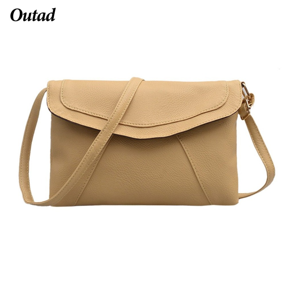 OUTAD PU leather Women Envelope Messenger Bags Slim Cross body Shoulder Small Satchel Ladies Purses 8 Colors Can Choose