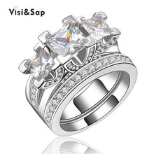 Vissap NEW Hot White Gold Plated rings for women Wedding engagement Ring sets luxury party CZ diamond bague Wholesale VSR131