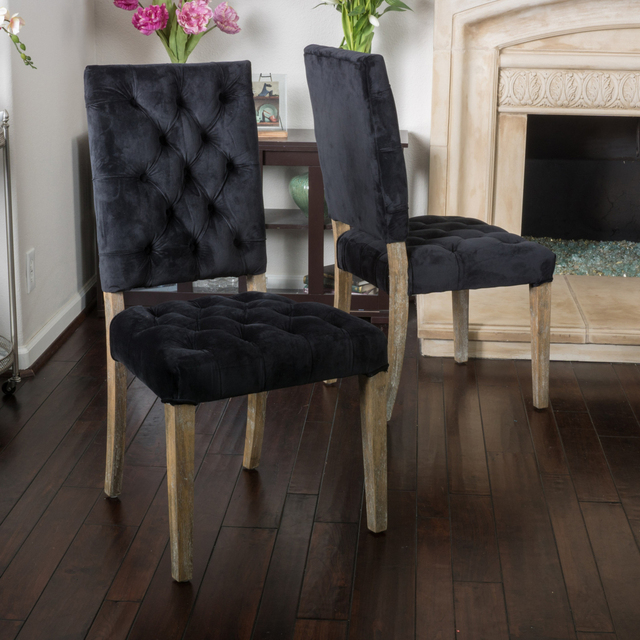 Myrtle Black Velvet Dining Chair Set Of 2 In Dining Chairs From
