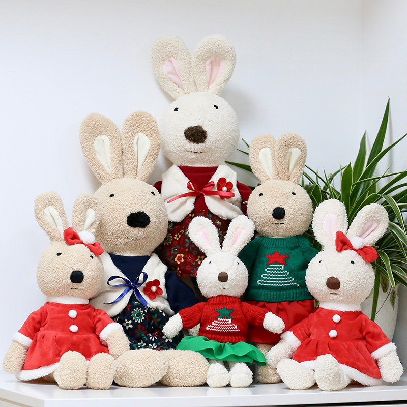 Cute Hare Rabbits Furry Plush Toys Craft Collectible Gift For Children Kids、2018