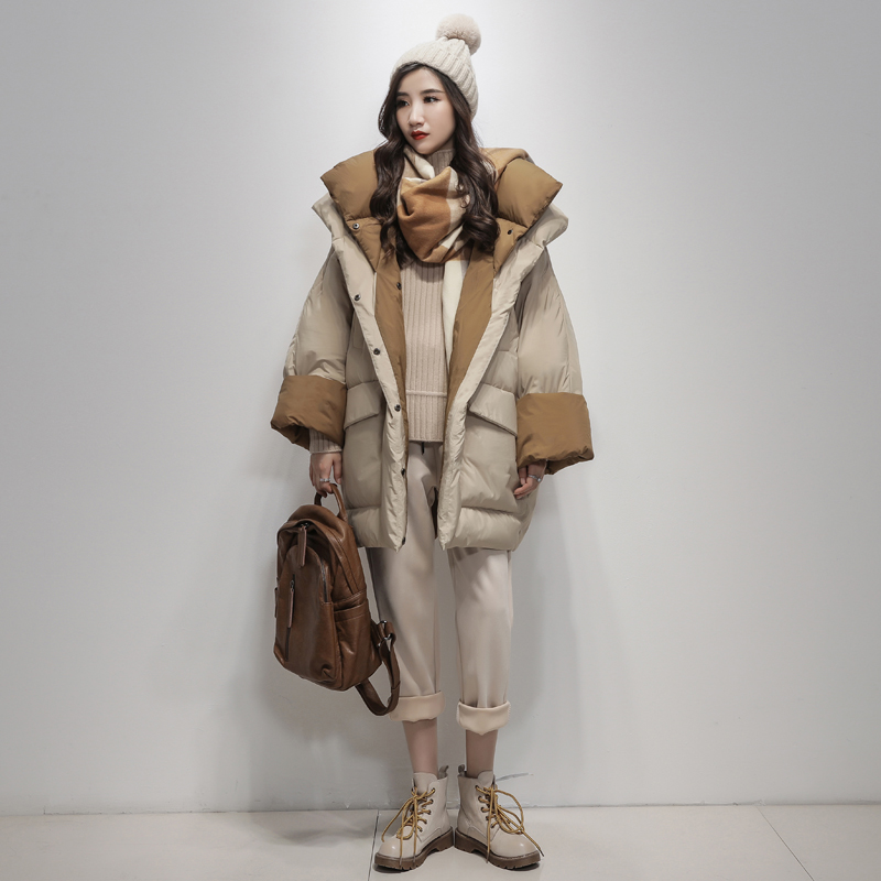 LYNETTE'S CHINOISERIE Winter Original Design Women Brief Loose X-long Hooded White Duck   Down     Coat   Jackets Outerwear