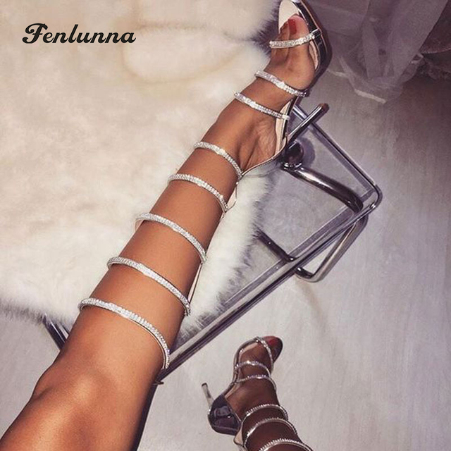 Roni Bouker Woman Summer Rhinestone Embellished Gladiator Sandals Female  Peep Toe Knee High Boots Lady Strap High Heels Big Size dd8086db0db7