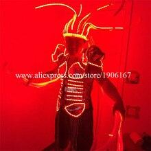 С подсветкой Новинка Костюмы осветить Головные уборы платье мигает растет LED костюм для сценического шоу событие для вечеринок