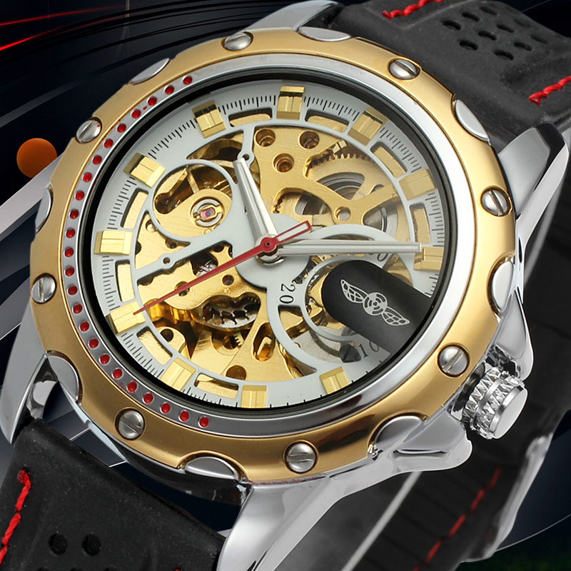 Winner Skeleton Men Watch with Gold Color Bars Index Black Silicone Band Mechanical Wristwatches with Gift Box