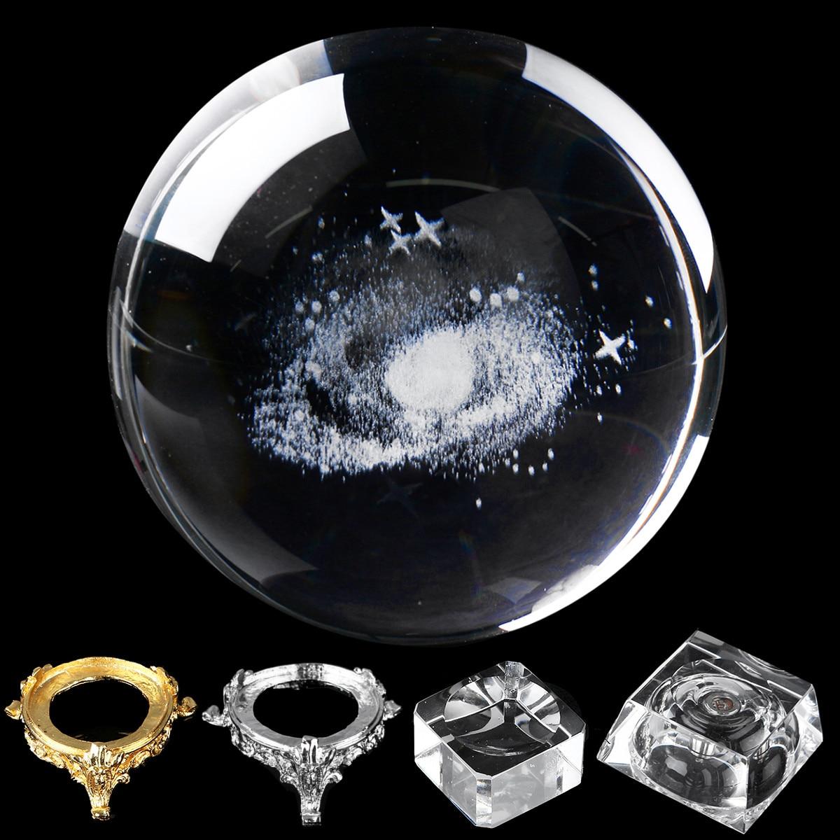8CM Laser Engraved Quartz Solar System Ball 3D Miniature Planet Model LED  Crystal Ball Sphere Globe