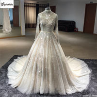 2018 Surmount Direct Selling Ball Gowns Long Sleeves High neck Hand Sewing Beaded Dress China Wedding Dresses