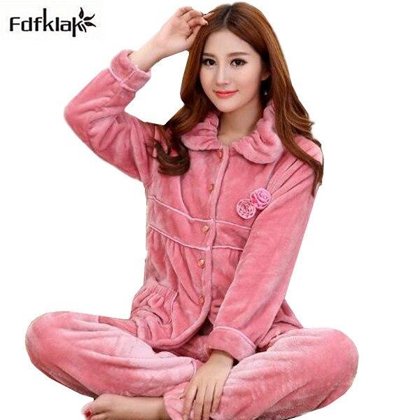 a58cadf406a Fdfklak New Brand Women s Winter Pajamas Long Sleeve Flannel Pyjamas Women  Warm Pajama Set Ladies Pijama Suit Sleepwear Sets
