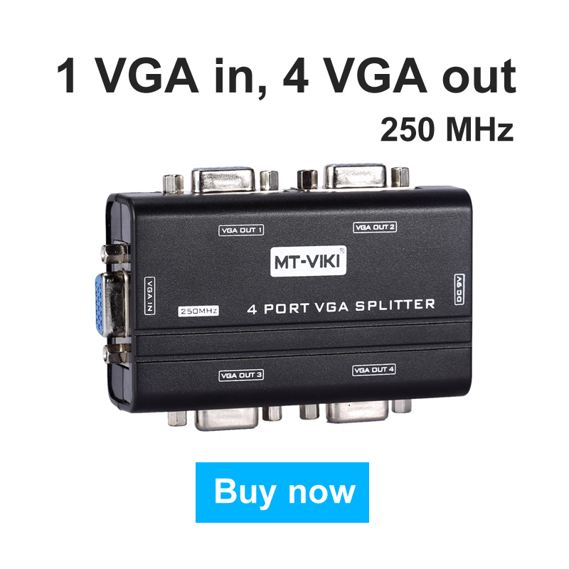 4 Port VGA Video Splitter 1x4 250Mhz Distributor 1 In 4 Out Duplicator Multipler Support Widescreen LCD Monitors MT-VIKI 2504AS