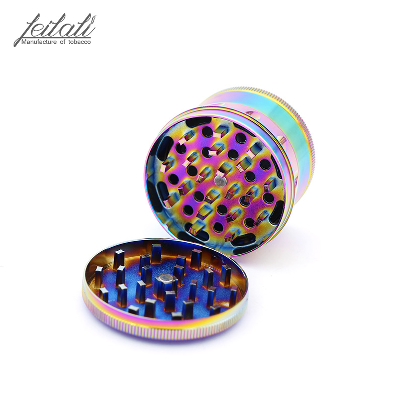 New creative four layer ice blue metal tobacco mill 63mm rainbow color drum portable tobacco mill detachable free delivery in Tobacco Pipes Accessories from Home Garden
