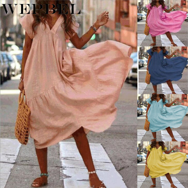WEPBEL Women Dress V Neck Irregular Solid Color Short Sleeve Summer Casual Beach Loose Plus Size Long Ladies Dresses 1