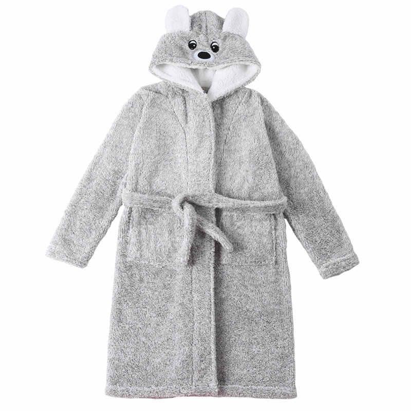 Новые зимние банные халаты для больших мальчиков, Детские фланелевые пижамы с капюшоном, плотные банные халаты для мальчиков-подростков, повседневные пижамы с героями мультфильмов