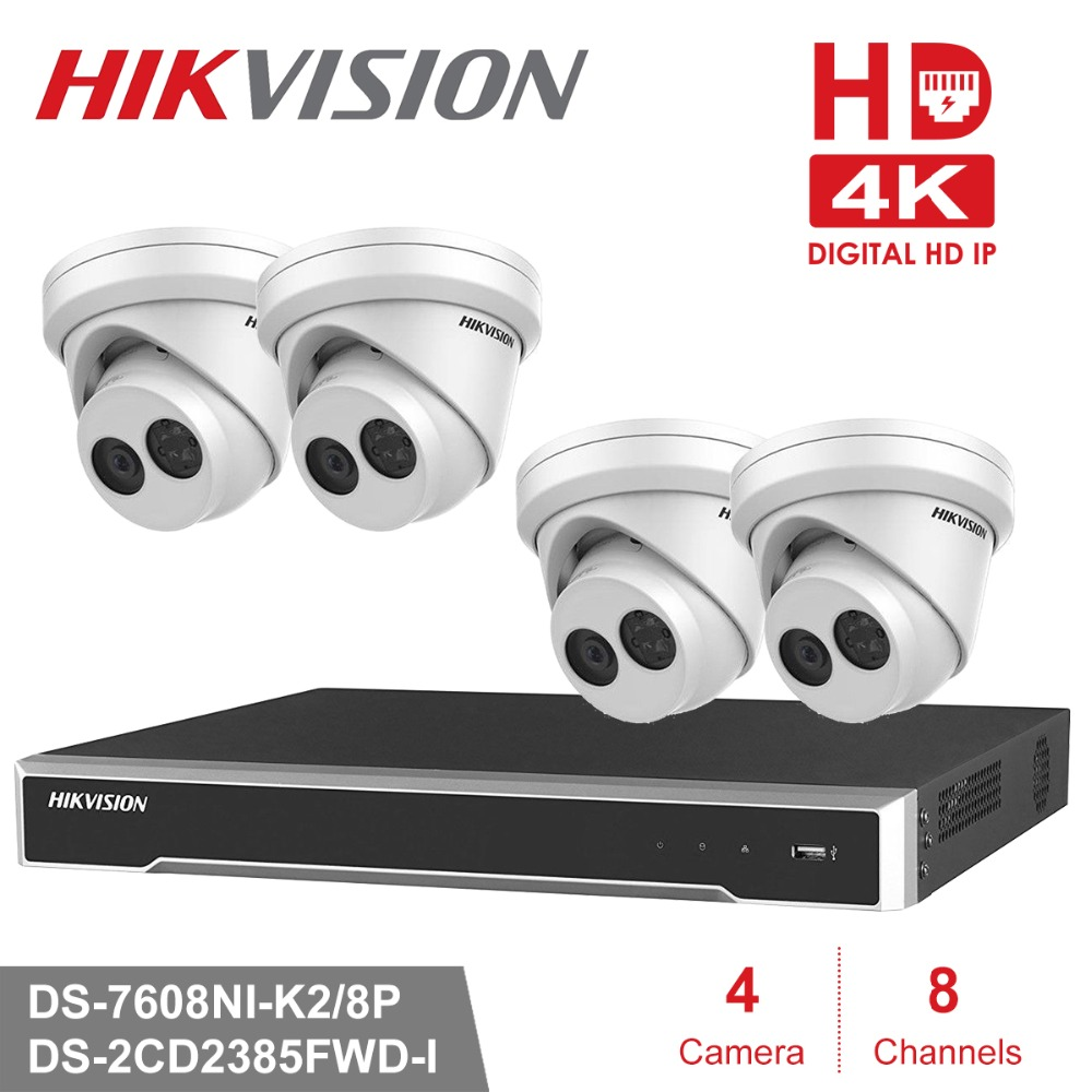 Hikvision 4 К CCTV Камера Системы 8CH POE NVR комплект 8,0 МП Открытый IP Security Камера день/ночь P2P видеонаблюдения Системы комплект