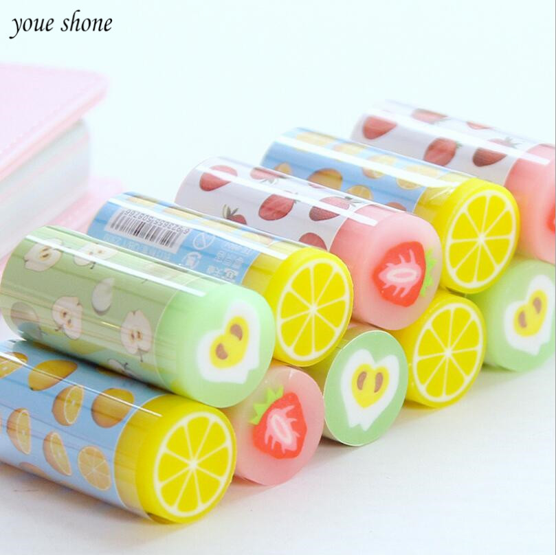 1pcs/lots Cartoon Color Stationery Eraser For Study Cute Fruit Series Rubber Earsers Office Material  School Stationery Supplies
