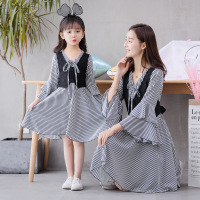 Family Matching Clothes Autumn Lace Striped Trumpet Sleeve Two piece Dress Mom and Daughter Dress Fashion Long Sleeve Dresses