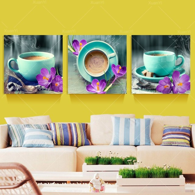 3 Pieces Still Life Coffee Painting Wall Art Pictures For Kitchen ...