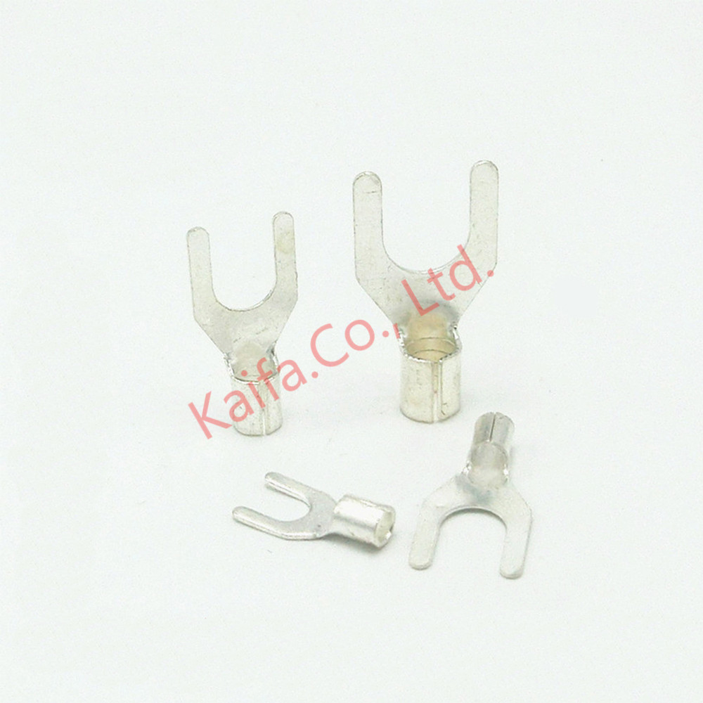 50pcs /lots 6mm2 4/5/6/8/10 Mm Ut Fork Bare Terminals Cold Pressing Wiring Terminal Y/u Type Connection Piece Ground Plate