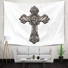 Black and White Cross with Wings Tapestries Wall Hanging Tapestry Students Dorm Decor Teenagers Gift Room Banner 130×150 CM