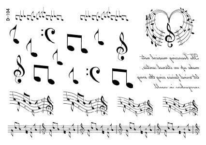 Pequeña Música Notas Stave Diseños Tatuajes Temporales Pegatinas