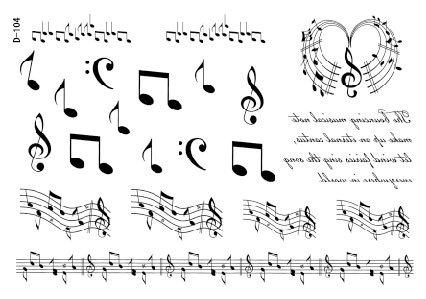 small music notes stave designs temporary tattoos stickers ...