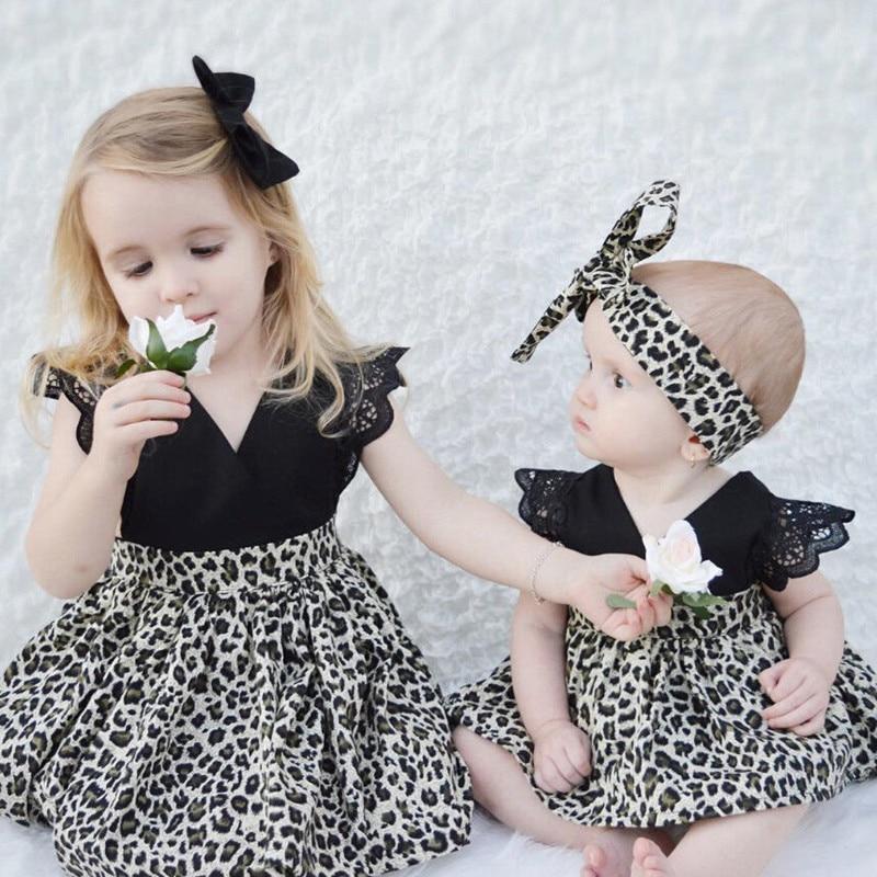 0-7Y Ropa de niña de bebé Traje de leopardo de encaje con volantes - Ropa de ninos