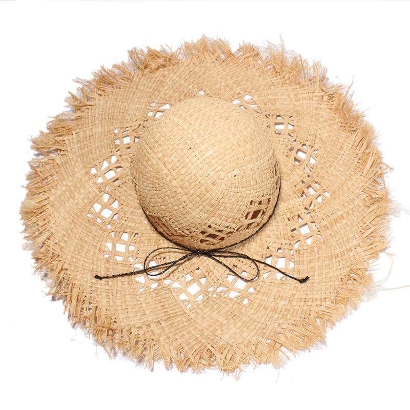 2017 საზაფხულო დიდი საცურაო ჩალის ქუდები ქალთა მოდა Crochet Hollow Out Sun Hat Raffia Beach Caps Sombreros Mujer Verano