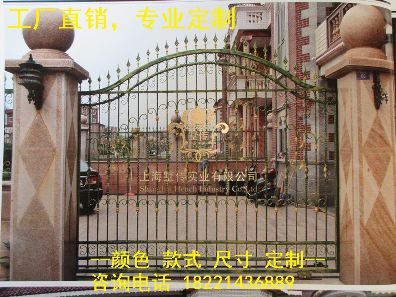 Custom Made Wrought Iron Gates Designs Whole Sale Wrought Iron Gates Metal Gates Steel Gates Hc-g21