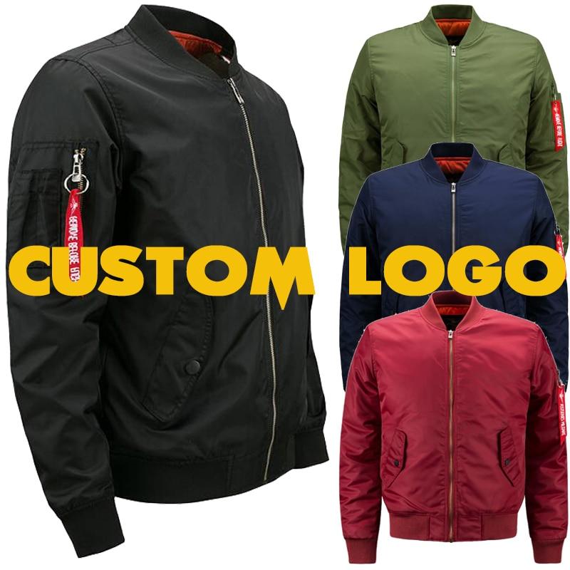Drop Transport Personal Design Print Males Pilot Bomber Jacket Customized Brand Olive Inexperienced Navy Black Burgundy Crimson