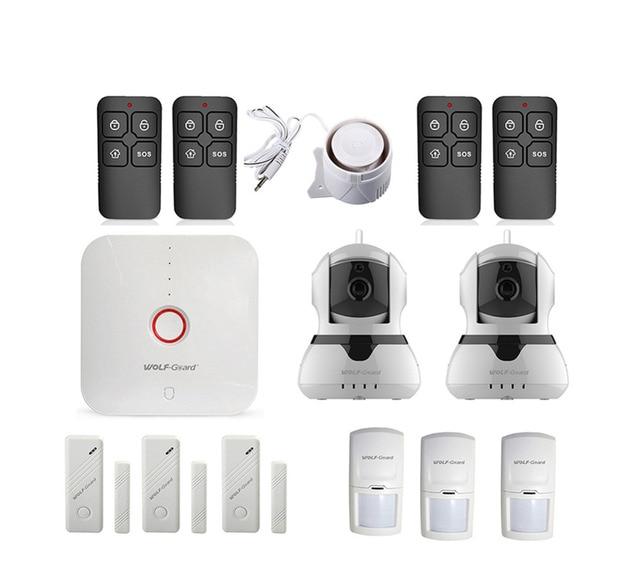 Cheap Wolf-Guard Wireless 2.4G Wifi Home Security Alarm Burglar System 720P IP Camera Door PIR Motion Detector App Control 433MHZ